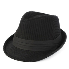 FS Preto Cinza Listrado Chapéus de Feltro De Lã Fedora Chapéu de Feltro  Para Os Homens Do Vintage Outono Inverno Bonés de Aba La. 6af71cd69c3