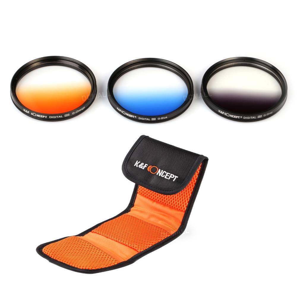 К и F концепция 3 шт. новый свеетофильтр 77 мм градиентный комплект фильтров постепенное серый синий оранжевый фильтр +ручка для Nikon D70 для EOS