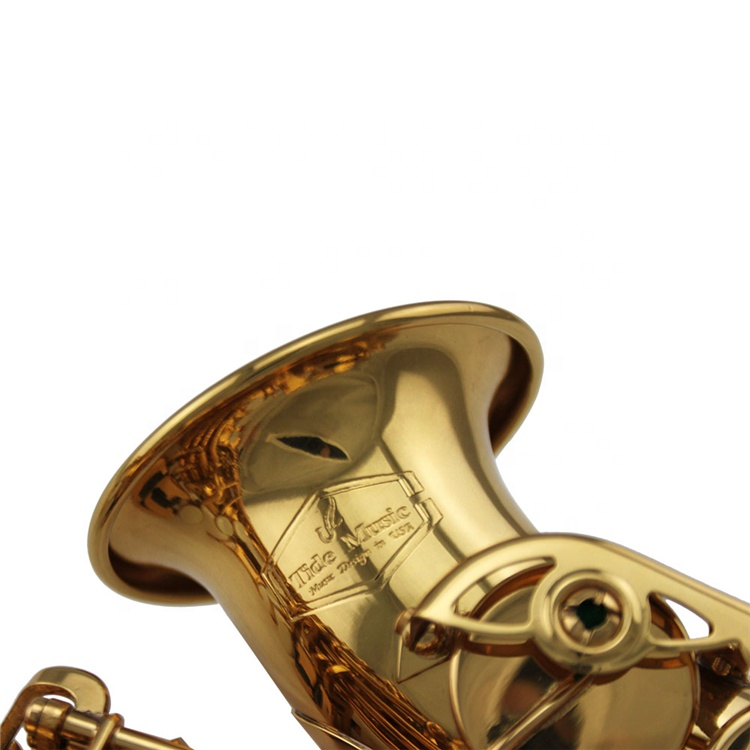 Popular Grade Curved Gold lacquer by electrophoresis coating Soprano Saxophone