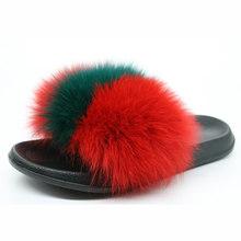 Coolsa новый летний Для женщин лиса Мех животных Шлёпанцы для женщин пушистый действительно Мех животных лиса волосы Направляющие плоской под...(Китай)