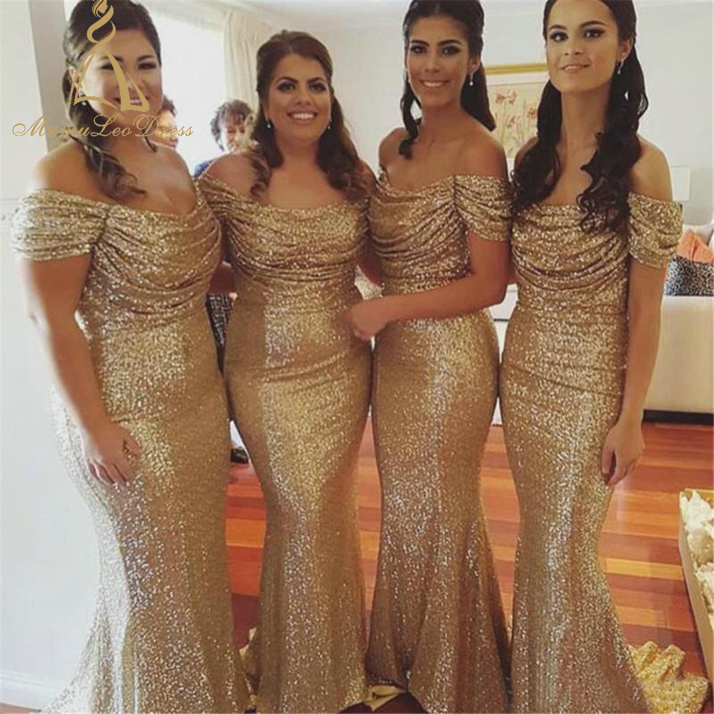 Floor Length Sheath Draped Rose Gold Sequin Bridesmaid Dresses Off ...