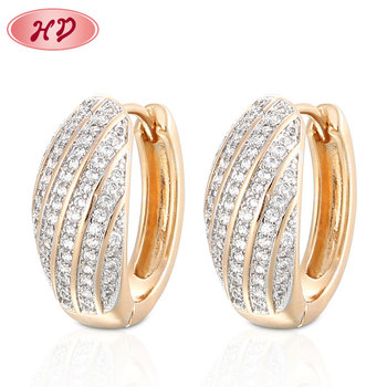 Saudi Gold Earrings Design Fashion Gold Plated Cubic Zirconia Hoop Wedding Earrings
