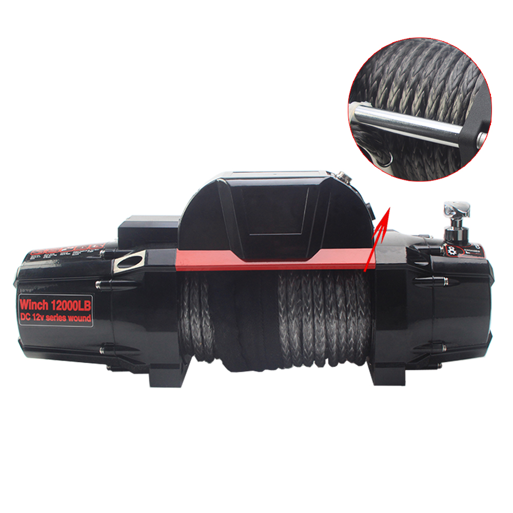 12000lbs 12V 24V 4WD off road 4x4 car electric winch with synthetic rope / wire rope