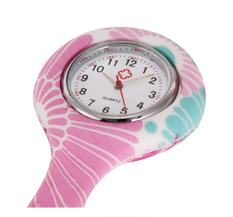 Waterproof Girls Silicone Nurse Brooch Watch with 10 Different Replacement Brooch Case Covers