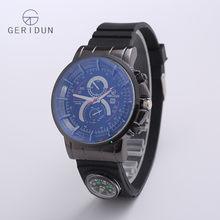 GERIDUN брендовые Роскошные мужские часы кварцевые Военные Наручные часы Часы мужские компас резиновый хронограф модные спортивные часы(Китай)