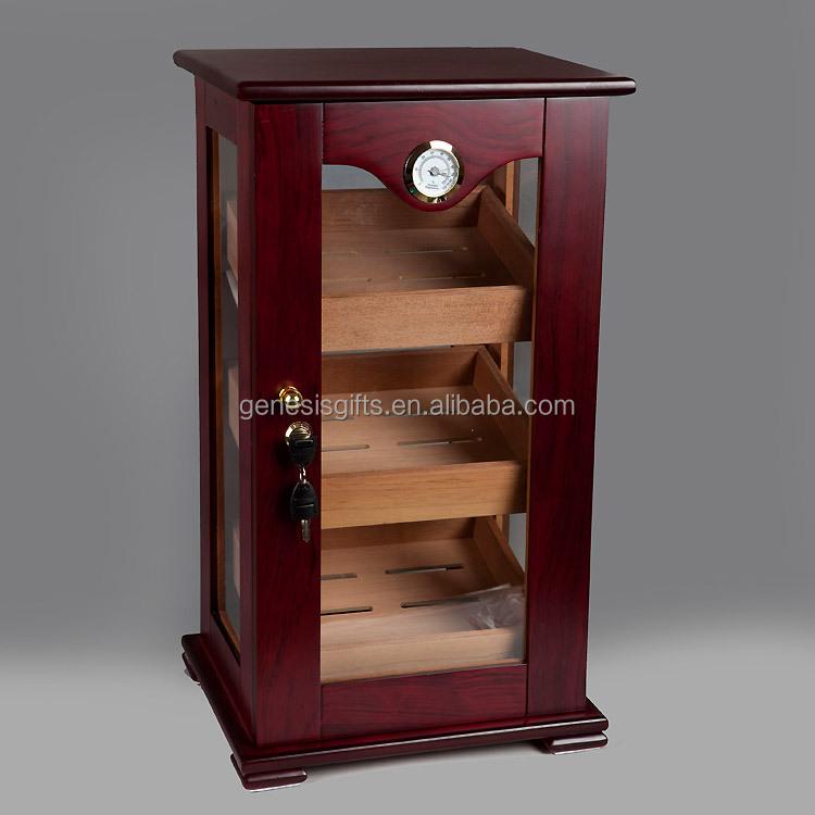 Большой размер, многослойный деревянный шкаф для сигар с красной отделкой, Коробка Для Хранения Сигар, витрина с безопасным замком, гигрометр