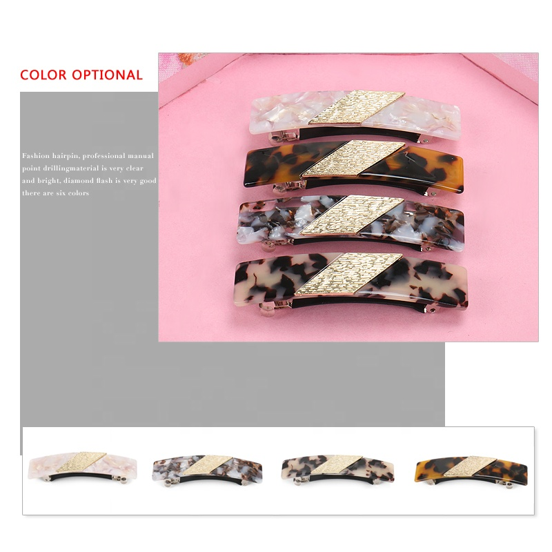 Hot Selling Rectangle Hair Accessory French Acetate Tortoise Color Women Jewelry Classic Rectangle Hair Barrette Clip
