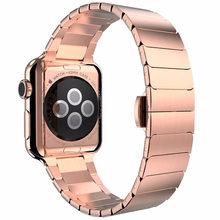 Ремешок из нержавеющей стали для Apple Watch 4, 38 мм, 42 мм, браслет с застежкой-бабочкой для iwatch 4, 40 мм, 44 мм(Китай)