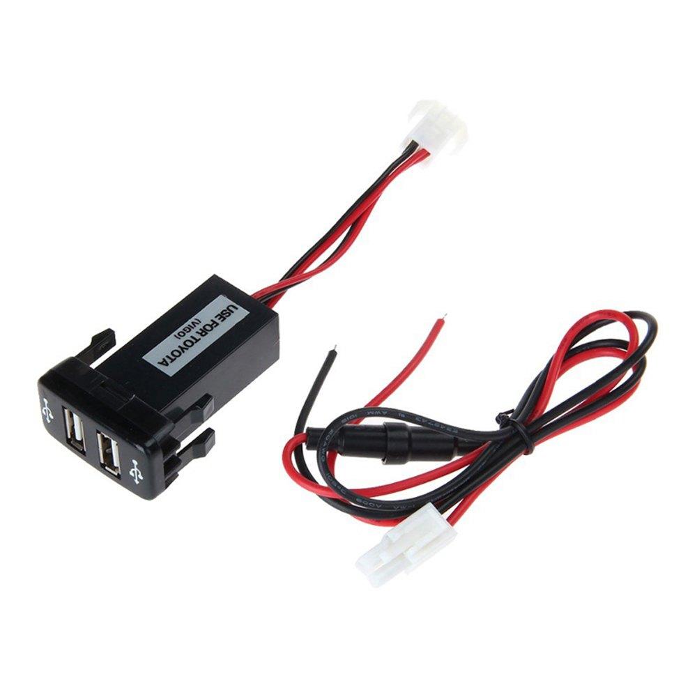 Автомобиль 2.1A двойной USB порт зарядное устройство телефон кпк DVR + аудио вход для Toyota VIGO горячая бесплатная доставка