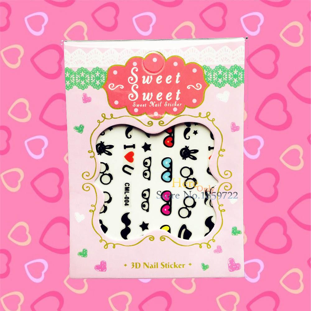 1PC EyeGlass Pattern Cartoon Nail Art Water Decal Transfer Sticker HCML 004 Mustache Harajuku Nail Decoration