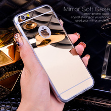 Gold Luxury Bling Mirror Case For Iphone 5 5S / 6 4.7 / 6 Plus 5.5 Clear TPU Edge Ultra Slim Flexible Soft Cover For Iphone 6