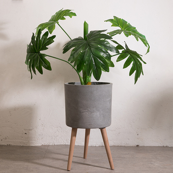 Home Decoration Wooden Wholesale Cement Flower Plant Pots With Legs Wholesalers