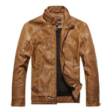 e400dffeb Homens outono e inverno masculino gola jaqueta de couro fino PU motocicleta  jaqueta além de veludo