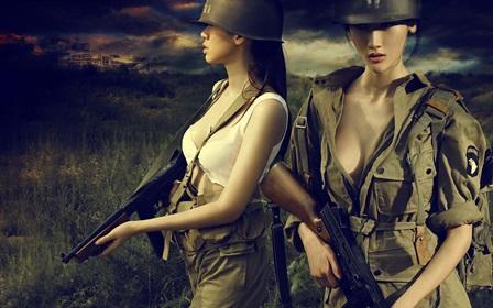 War <font><b>asian</b></font> oriental weapons guns assault rifle women models actress sexy sensual 4 Size <font><b>Home</b></font> <font><b>Decoration</b></font> Canvas Poster Print