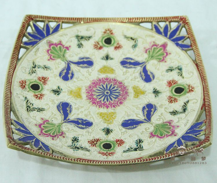 India fruit plate / copper hand painted fruit / European luxury home decoration low foot dry fruit
