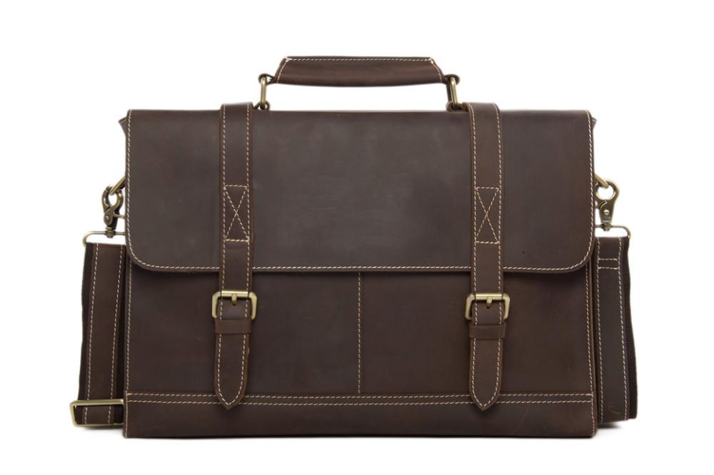 6003481ddf1a ROCKCOW Business Men s Handmade Leather Briefcase messenger satchel bag 14  Laptop Crossobdy Shoulder Bag 6938