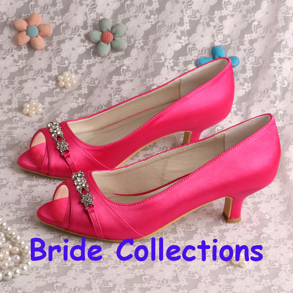 Pink Low Heel Wedding Shoes: Bride Collections Hot Pink Low Heel Shoes Bridal Peep Toe