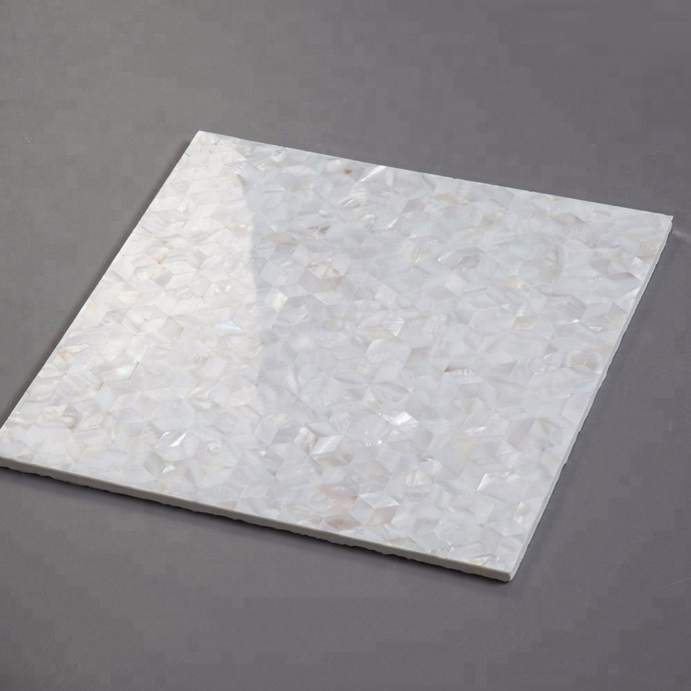 White Diamond Rhombus Mother Of Pearl Shell Mosaic Tile for Kitchen Wall
