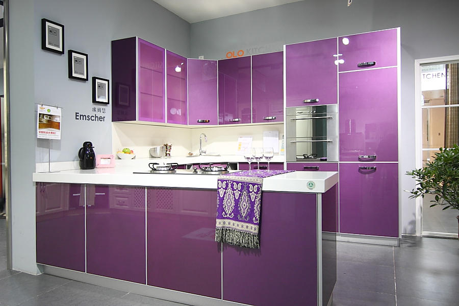 Purple Glossy Kitchen Furnitures Popular In Los Angeles