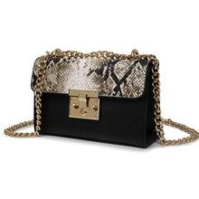 Дизайнерские сумки высокого качества, женская сумка через плечо, Женская змеиная кожа, металлический замок на молнии, маленькие цепи, сумки ...(Китай)