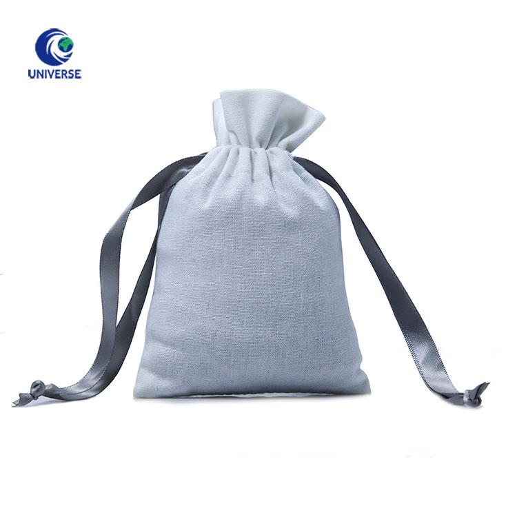 Логотип небольшой мягкий белый органический хлопок ткань шнурок пыли ювелирные изделия путешествия мешок Организатор