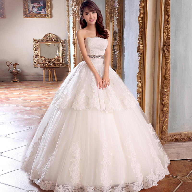 New Arrival 2015 Bride Lace Tube Top Crystal Baeding A