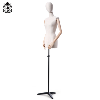 UK Warehouse Clothing Display Mannequin Female Half Body Dressmaker Dummy Dress Form With Wooden Arms Mannequin Torso