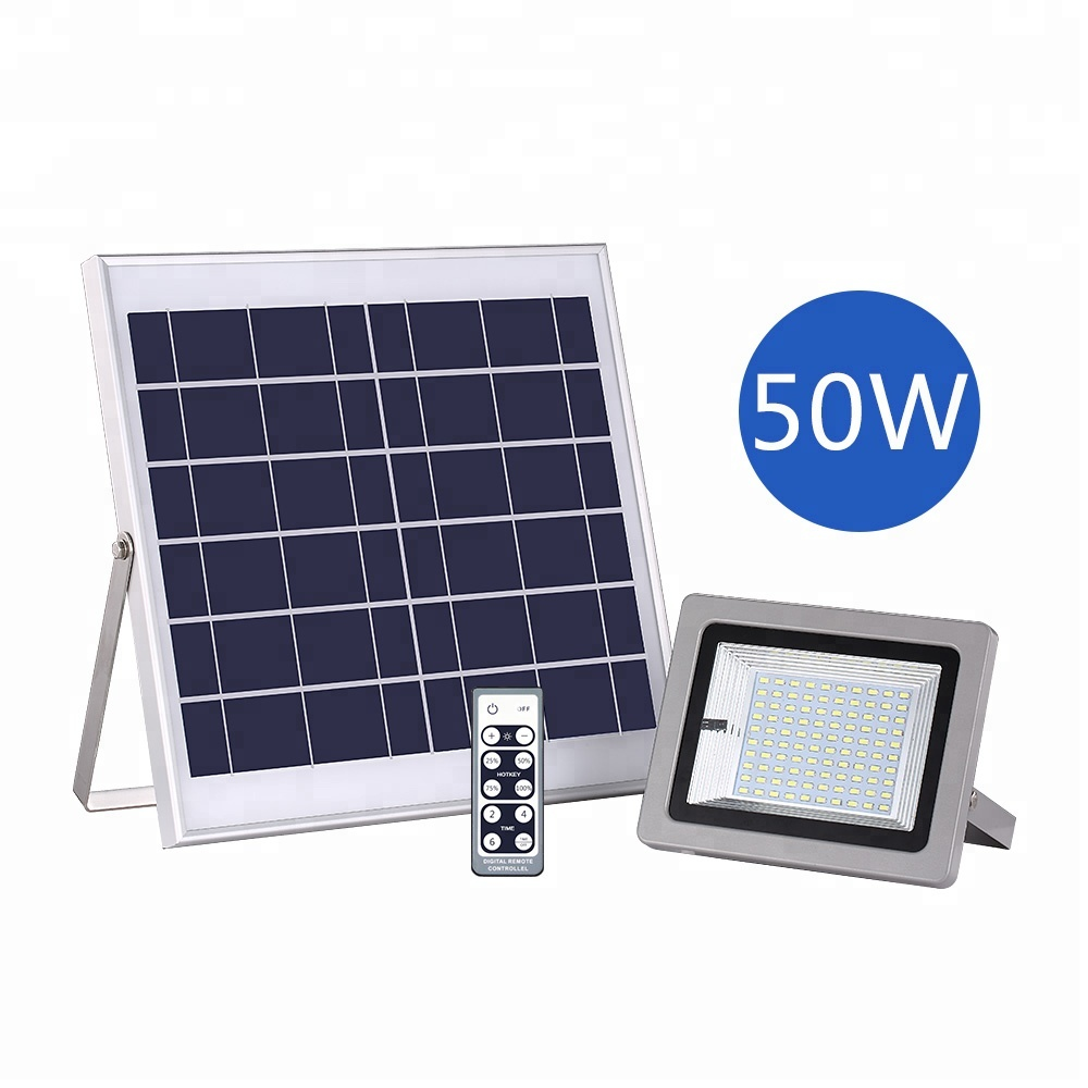 New Private Model Super Thin 50W 100LED Lamp LFP Battery Solar Powered Outdoor Flood Light