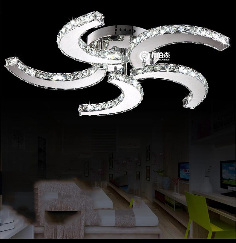 Ceiling Fan Chandelier Combo Novel crystal fan ceiling light 5 heads D640mm 40W led ...