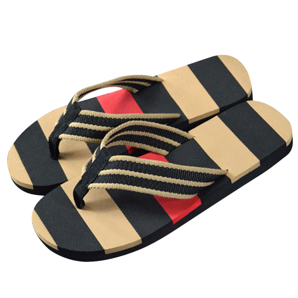 9f45e6fedec 2019 Men Summer Slippers Beach Casual Shoes Stripe Flip Flops Shoes Male Slipper  Indoor Outdoor Fashion Round Toe Flat Gold Shoes Girls Boots From Diyplant
