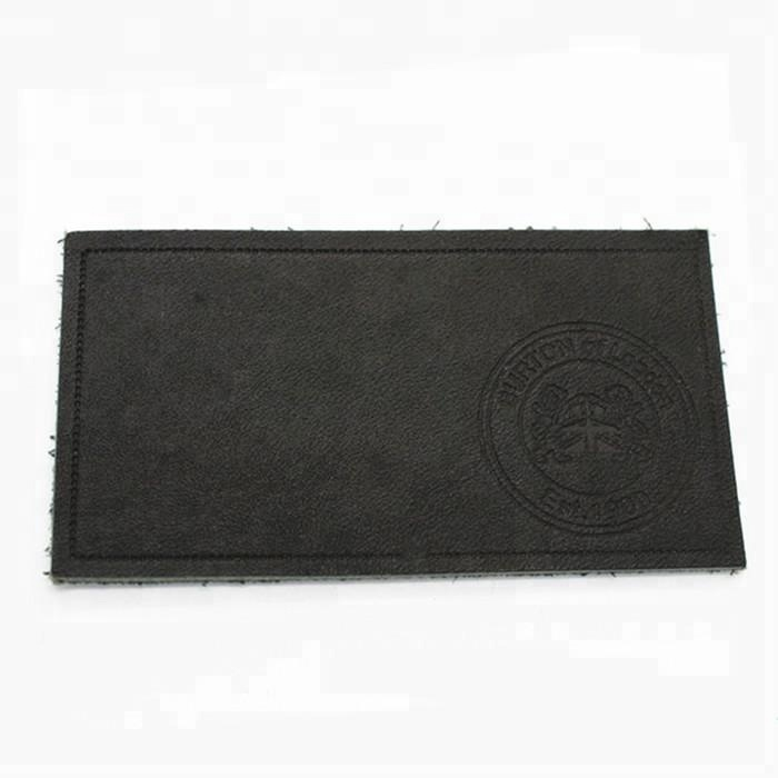 Custom pu leather metal labels embossed label