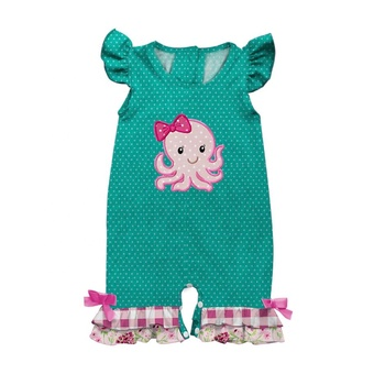 Baby Girl Summer Clothes Romper tiny polka dot Ruffle Bodysuit Bowknot Girls Romper With Octopus Applique