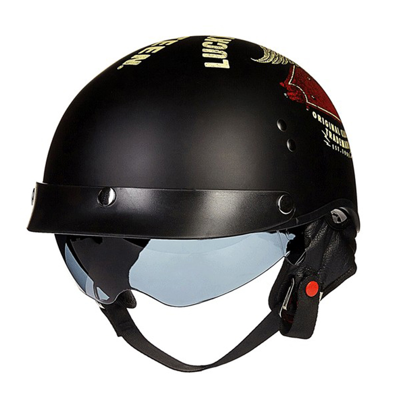 buy 2015 disassemble harley rider kco motorcycle dot open face abs leather helmet vintage. Black Bedroom Furniture Sets. Home Design Ideas