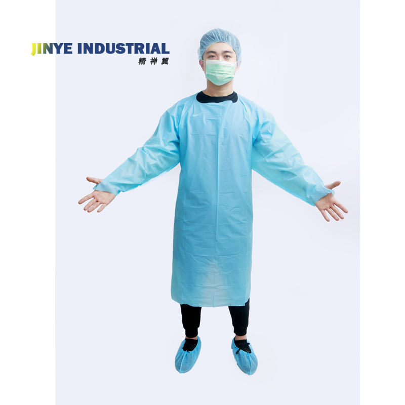Plastic Waterproof Long sleeved Disposable CPE Gown With thumb loop - KingCare | KingCare.net