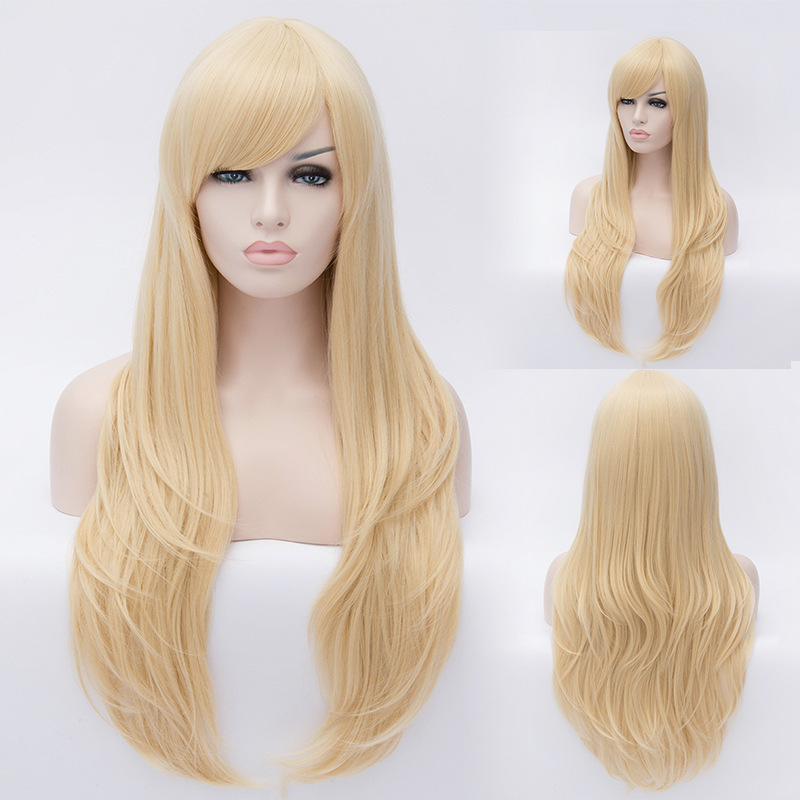 80cm Cosplay Fashion Wig Long Curly Light Blonde Wig