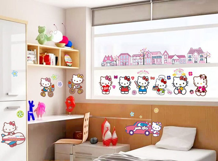 hello kitty cartoon kids rooms wall sticker playroom home decor girls home decoration in. Black Bedroom Furniture Sets. Home Design Ideas