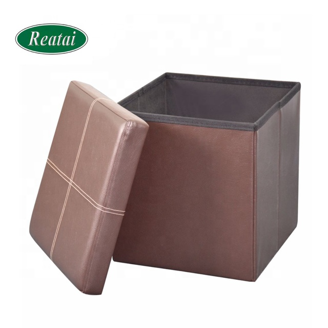 Reatai new PVC leather foldable modern ottoman furniture with storage