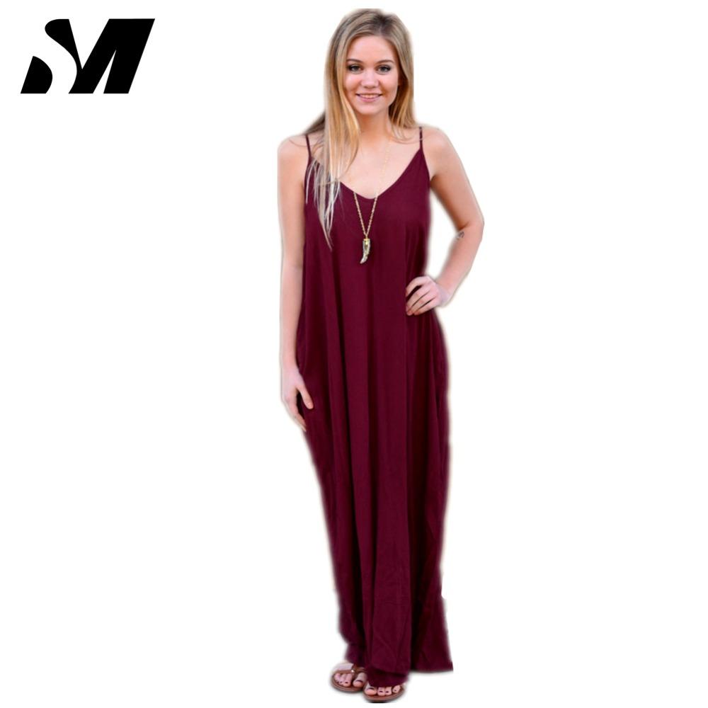 2016 Summer Cotton Maxi Dress Women Sleeveless V neck Long ...