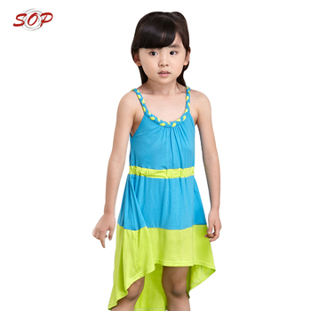 Children Spaghetti design kids beach wear baby girl new frock design Summer dresses for girls Fashional Clothing Ready to Ship