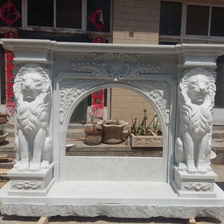 Vincentaa 2021 Popular New Natural Marble Hand Carved Lion Head Fireplace Mantel