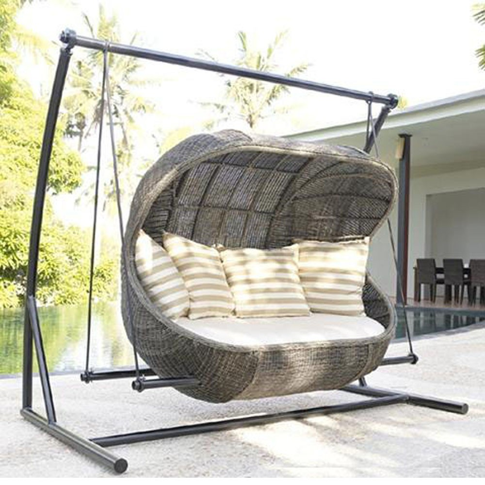 Rattan Synthetic Wicker Patio Porch Hanging Swing Chair ...
