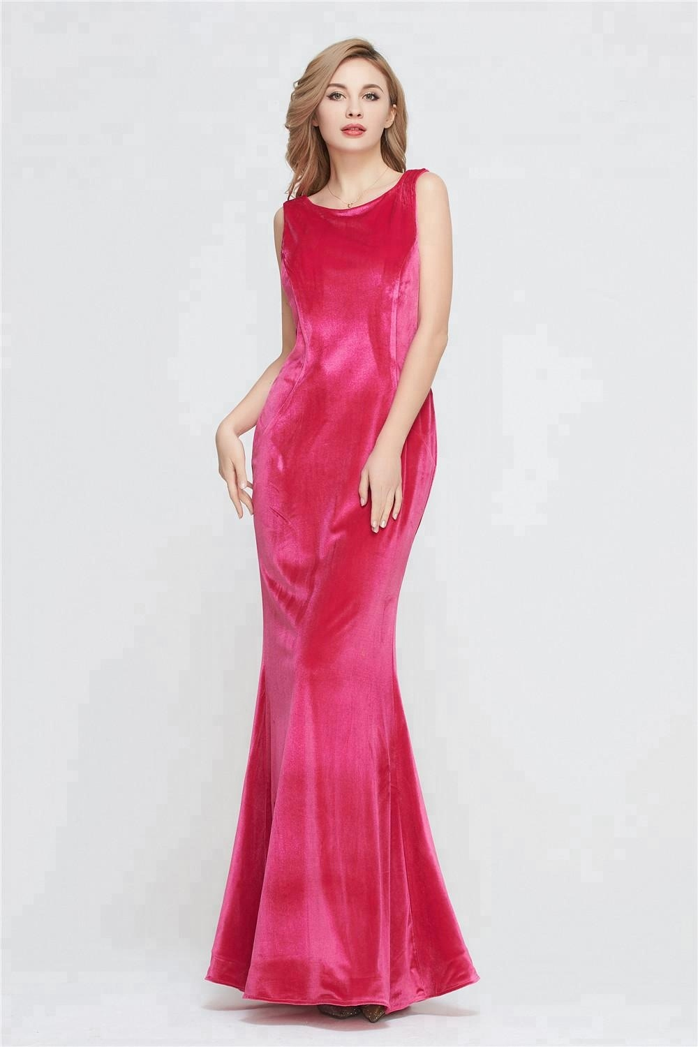 2021 New Stock Wholesale Celebrity Evening Formal Party gowns sexy Prom Gown Velvet Pink Prom Dress