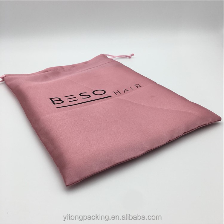 Custom Rose Gold Satin Pouches Bag With Printing