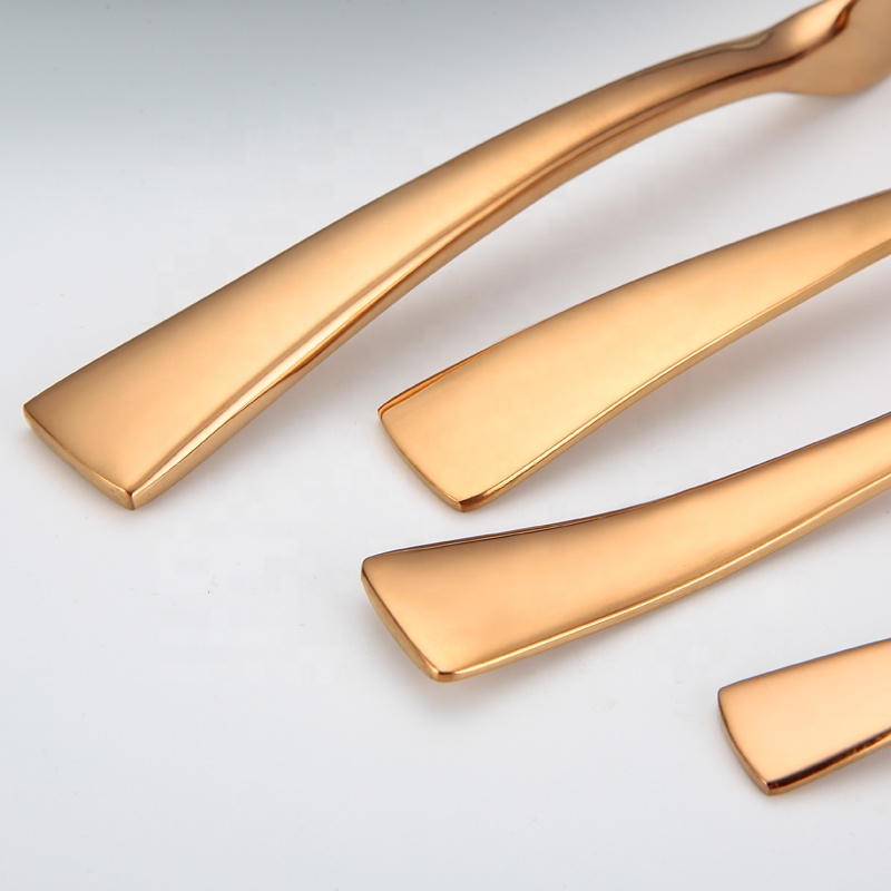 Free sample dish washer safe pvd coating rose gold cutlery 24pcs set copper flatware set