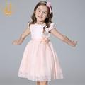 Nimble Girls Dress Princess Embroidery Bow Handmade Flowers Beaded Pearls Dresses