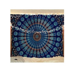 Indian Hippie Bohemian Psychedelic Peacock Mandala Wall Hanging Bedding Tapestry