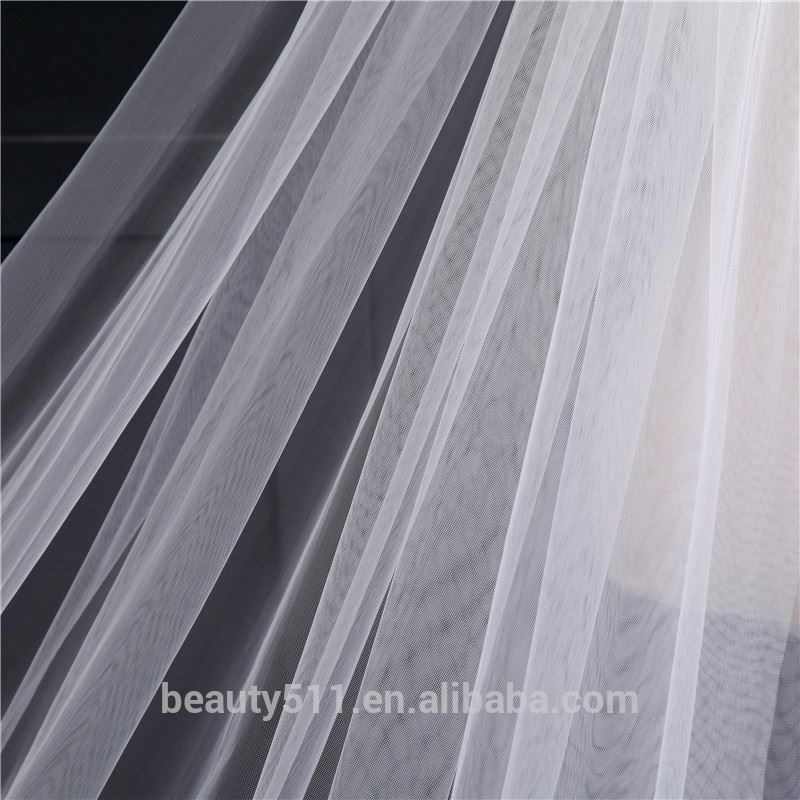 2021 wholesale new grance long lace bridal wedding veilwhite one-layer bell flower wedding lace veil Fashionable long Tulle HL26