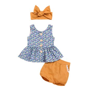 New style flower sleeveless top +girls shorts + bowknot headband 3pieces clothes sets custom girls clothes new born baby clothes