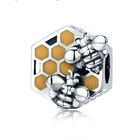 New Collection 925 Sterling Silver Honeycomb Honey Bee Square Charm Beads fit European Charm Bracelet for Women