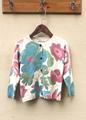 Baby Girls Sweater Spring Autumn Fashion Trend Beige Cute Lotus Flowers Print Sweater Wool Cashmere Cardigan
